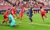 Kingsley COMAN r. (M) cheers about his goal to 0: 1, Leon GORETZKA (M), Robert LEWANDOWSKI (M), Thomas MUELLER (M_ller, M) cheer with, jubilation, jubeln, Freude, cheers, goalwart Keylor NAVAS (PSG) and Thiago SILVA (PSG) disappointed, disappointed, disap