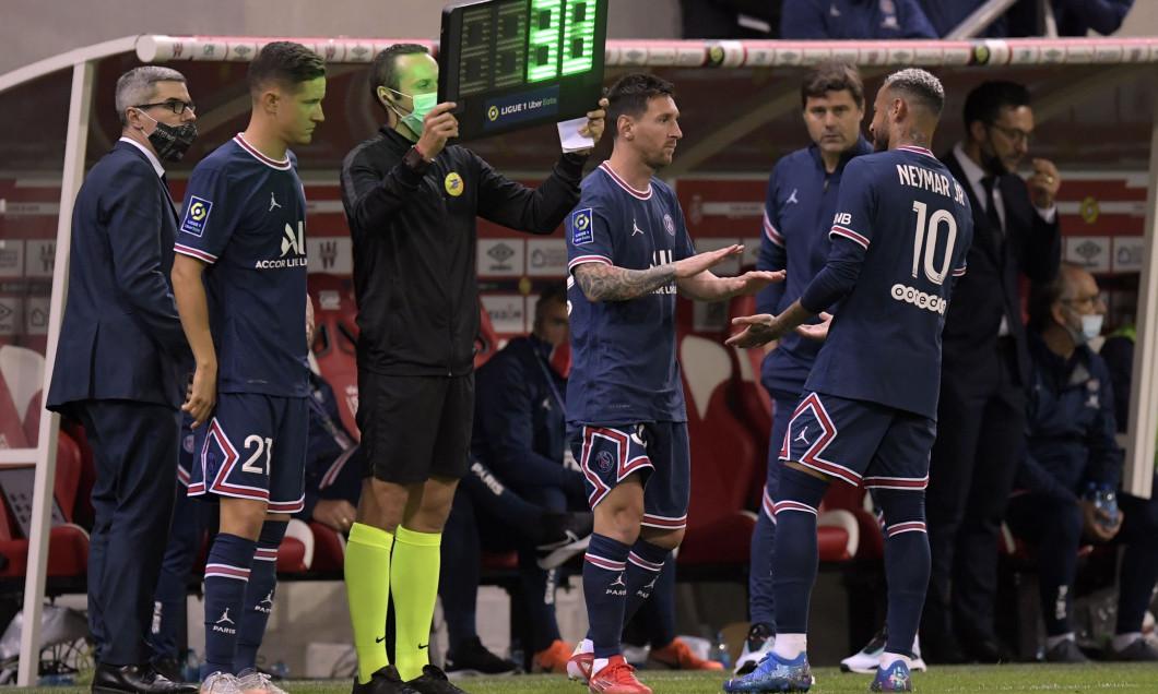 Ander Herrera și Lionel Messi, înainte să intre pe gazon în Reims - PSG / Foto: Profimedia