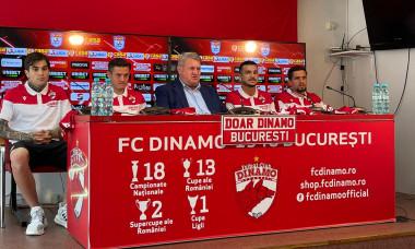 Dinamo i-a prezentat pe Constantin Nica, Răzvan Popa, Gabriel Torje și Cosmin Matei / Foto: Captură Digi Sport