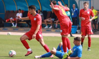 Fotbaliștii de la Unirea Constanța, în echipamentul FCSB-ului, la meciul cu Dunăra Călărași / Foto: Facebook@afcdunarea