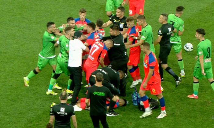 Jucătorii de la FCSB și Dinamo, aproape de bătaie / Foto: Captură Digi Sport