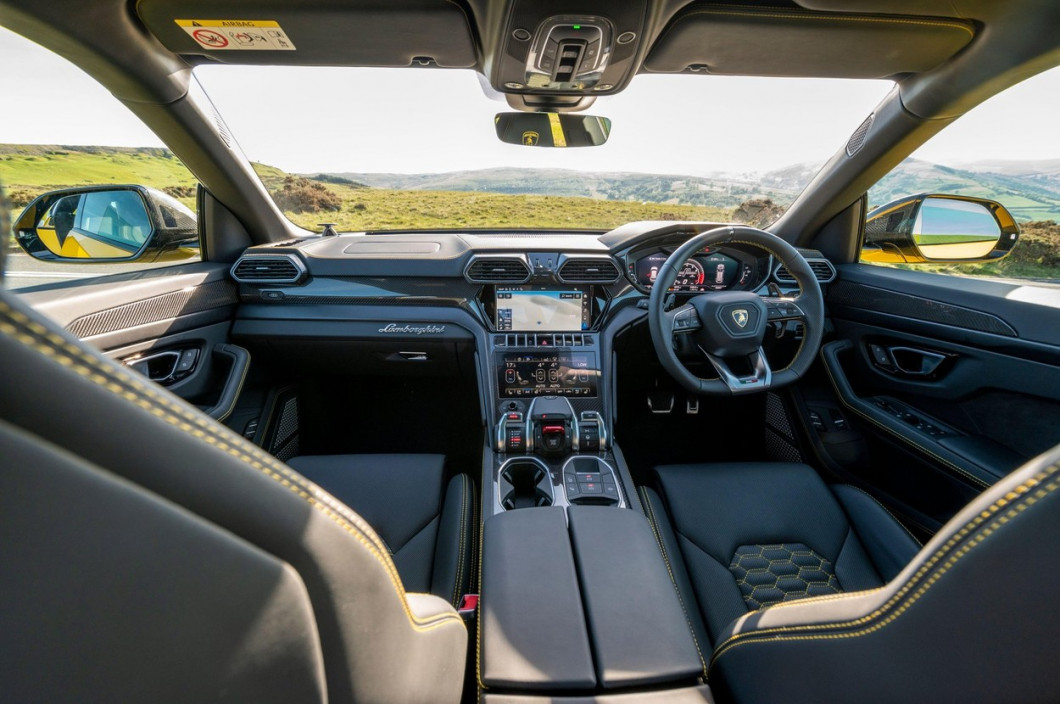 Interior of a Lamborghini Urus SUV photographed in the evening sunshine at Llangynidr, Powys, Wales, UK.Spec:4 litre twin turbo V8 engine0-62 mph 3