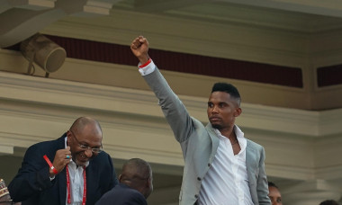 Alexandria, Egypt. 6th July 2019. FRANCE OUT July 6, 2019: Samuel Eto'o, former Cameroon player celebrating cameroon scoring to 2-1 during the 2019 African Cup of Nations match between Cameroon and Nigeria at the Alexanddria Stadium in Alexandria, Egypt.