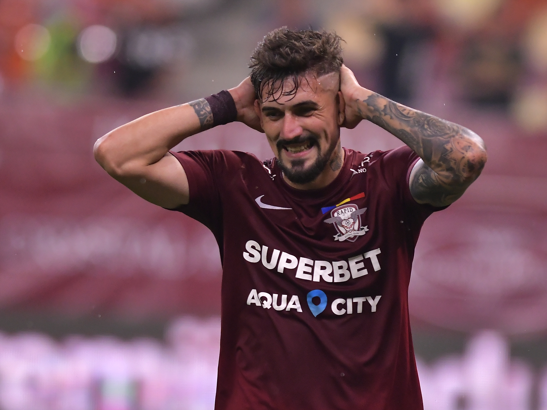 """Alexandru Albu a dat gol, dar a răbufnit după eșecul Rapidului: """"Suntem vânați, domnii în negru și-au făcut jocul!"""""""