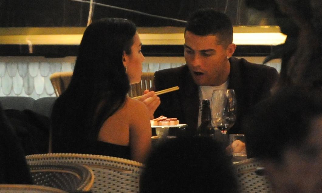 Cristiano Ronaldo and his girlfriend Georgina Rodriguez and Cristiano Jr seen at Zela restaurant in London