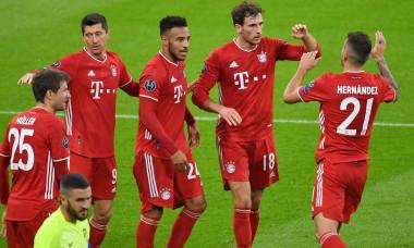 Munich, Deutschland. 21st Oct, 2020. jubilation around Leon GORETZKA (FC Bayern Munich, 2nd from right) after goal to 2-0 with Lucas HERNANDEZ (FC Bayern Munich, right), Corentin TOLISSO (FC Bayern Munich), Robert LEWANDOWSKI (FC Bayern Munich), Thomas MU