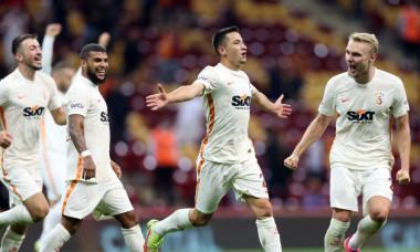 Olimpiu Moruțan, după golul marcat în Galatasaray - Goztepe / Foto: Twitter@GalatasaraySK