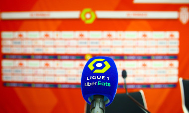 Monaco, Monte-Carlo - August 06, 2021: French L1 Football Match AS Monaco vs. FC Nantes Press Conference at the Louis II Stadium with Ligue 1 Uber Eats Microphone and Logo. Mandoga Media