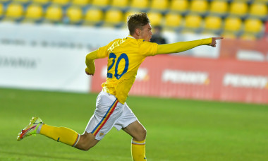 Eduard Rădăslăvescu, după golul marcat în România U20 - Cehia U20 / Foto: Sport Pictures