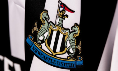 Close up of retro Newcastle United FC jersey.