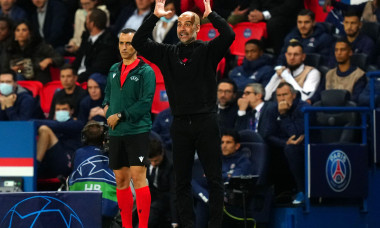 Manchester City manager Pep Guardiola gestures on the touchline during the UEFA Champions League, Group A match at the Parc des Princes, Paris. Picture date: Tuesday September 28, 2021.