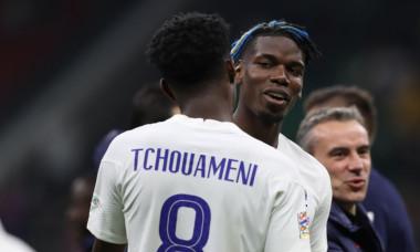 Aurelien Tchouameni, alături de Paul Pogba la naționala Franței / Foto: Profimedia