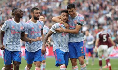 Jesse Lingard, alături de Aaron Wan-Bissaka, Bruno Fernandes și Cristiano Ronaldo, în meciul West Ham - Manchester United / Foto: Getty Images