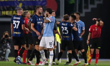 ITALIAN SERIE A CHAMPIONSHIP 2021-2022 FOOTBALL MATCH : SS LAZIO VS FC INTER MILAN, ROME, ITALY - OCTOBER 16th 2021