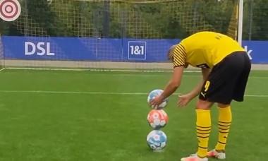 Erling Haaland, la antrenamentul Borussiei Dortmund / Foto: Captură Twitter@BlackYellow