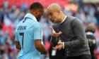 Raheem Sterling and Pep Guardiola file photo
