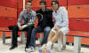 Real Madrid players Ronaldo and Gonzalez pose with tennis player Nadal inside the dressing room during the Madrid Open tennis tournament