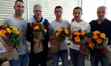 Bebe Mărbulescu, Marius Şumudică, Gabi Mărgărit, Radu Sardescu, Cristian Petre (de la stânga la dreapta)