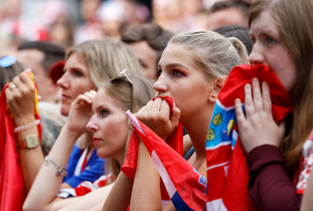 Fans Watch As Croatia Take On France In The Football World Cup Final