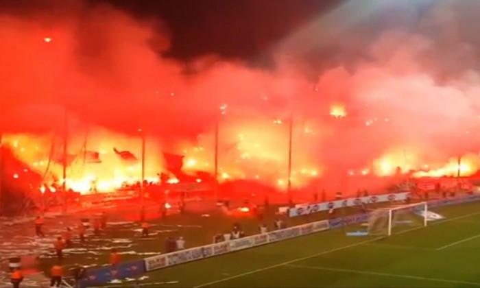Atmosfera pe stadionul din Salonic