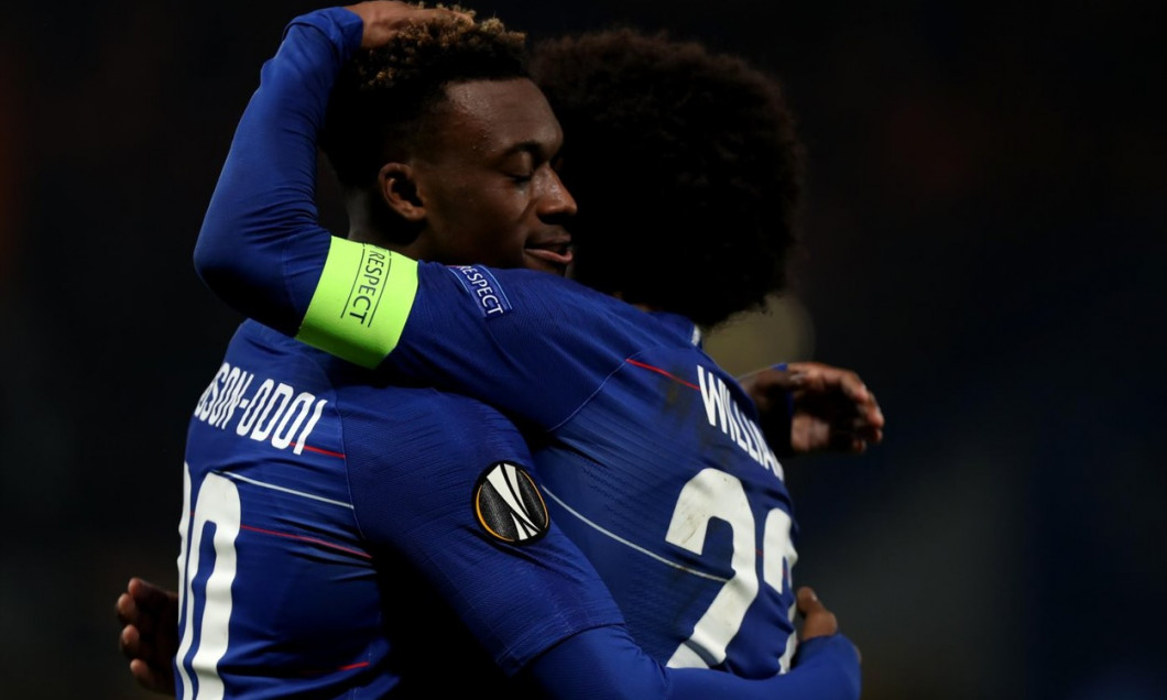 Stamford Bridge, London, UK. 21st Feb, 2019. UEFA Europa League football, Chelsea versus Malmo; Chelsea celebrates with Willian after he scores for 3-0 in the 84th minute Credit: Action Plus Sports/Alamy Live News
