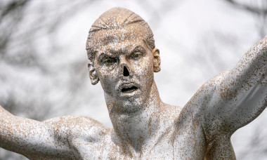 Zlatan Ibrahimovic statue has nose cut off by vandals, Malmo, Sweden - 22 Dec 2019