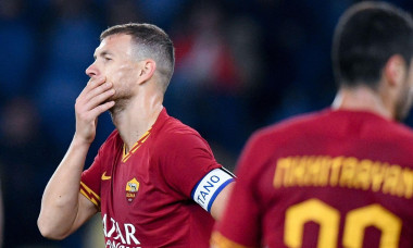 Rome, Italy. 23rd Feb, 2020. Edin Dzeko of AS Roma looks dejected during the Serie A match between Roma and Lecce at Stadio Olimpico, Rome, Italy on 23 February 2020. Photo by Giuseppe Maffia. Credit: UK Sports Pics Ltd/Alamy Live News