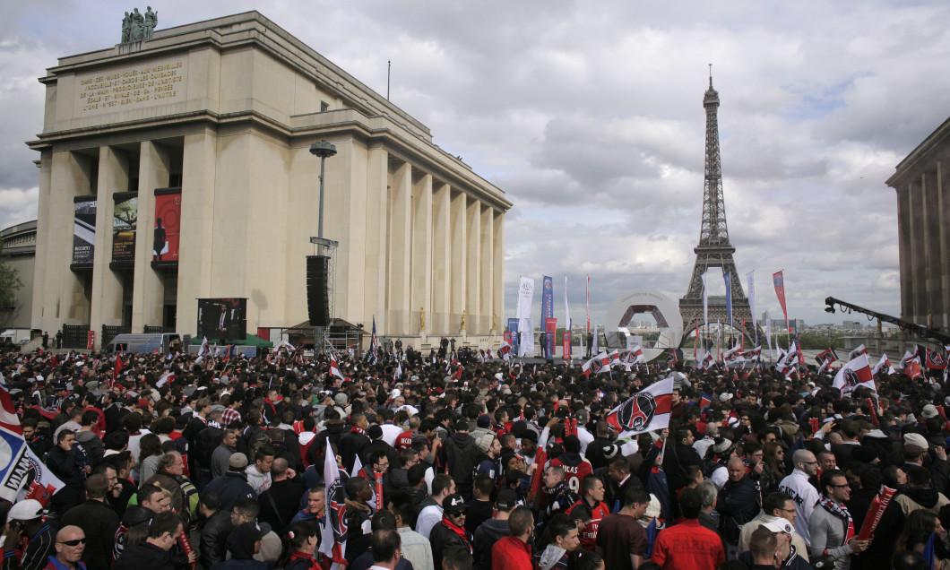 Paris Saint-Germain Celebrates Receiving The Ligue 1 Trophy