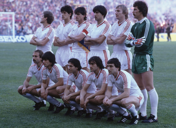 Sport. Football. European Cup Final. Seville. 7th May 1986. Steaua Bucharest 0 v Barcelona 0 ( After Extra Time) Steaua won 2 - 0 on penalties. Steaua Bucharest team group.