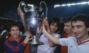 Sport. Football. European Cup Final. Seville. 7th May 1986. Steaua Bucharest 0 v Barcelona 0 ( After Extra Time) Steaua won 2 - 0 on penalties. Bucharest ( including Lacatus, centre back) celebrate with the trophy.