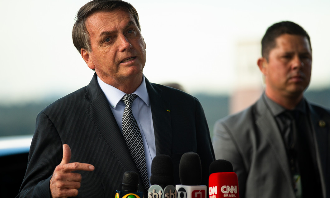 President Jair Bolsonaro Meets with the Press and His Supporters Amidst the Outbreak of the Coronavirus (COVID - 19)