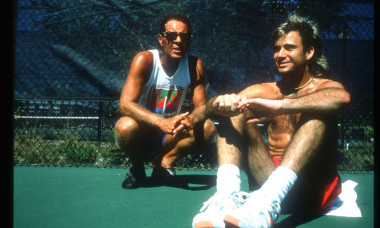 Tennis Player Andre Agassi Sits With His Coach Nick Bollettieri November 15 1990 In usa