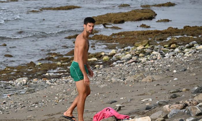 EXC Novak Djokovic on beach