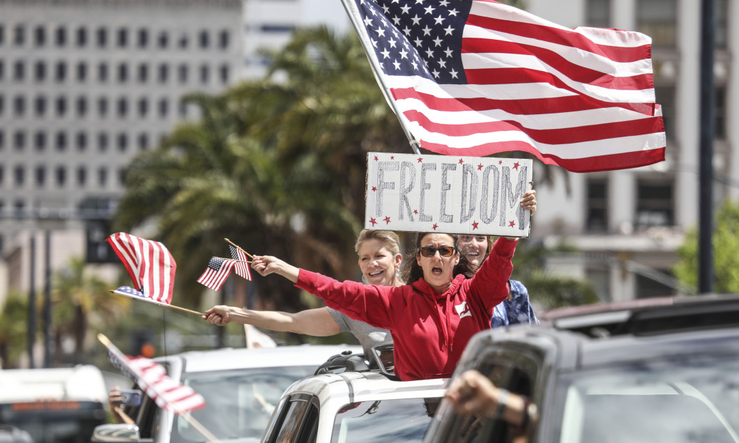"""San Diego Residents Hold """"Freedom Rally"""" To Protest Stay-At-Home Directives"""