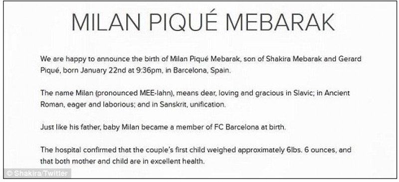 Anunțul postat pe twitter de cantareață imediat după nașterea lui Milan