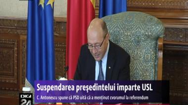 Suspendarea de anul trecut a președintelui Traian Băsescu împarte USL