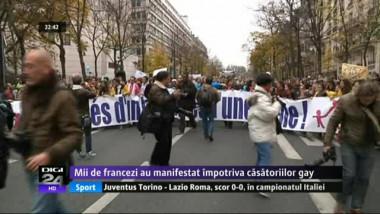 Mii de francezi au manifestat împotriva căsătoriilor gay