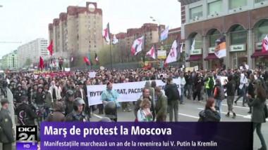 Marş de protest la Moscova. Manifestaţiile marchează un an de la revenirea lui Vladimir Putin la Kremlin