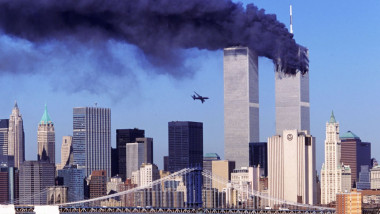 Just before the second airplane crashes to the World Trade Center New York 11 Sept 2001 2
