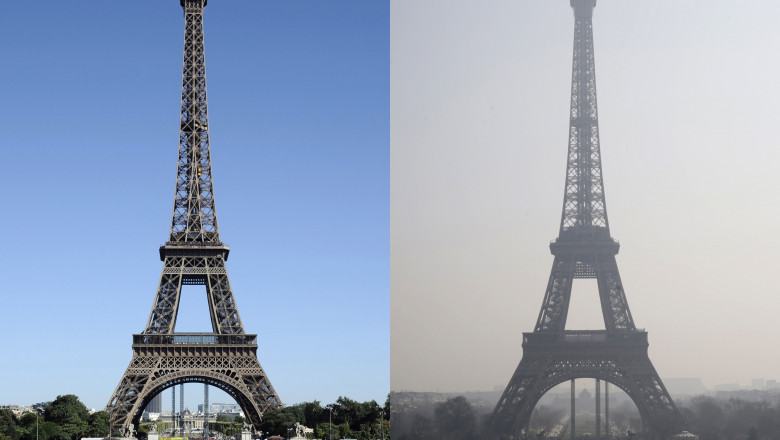 Poluare Paris turnul Eiffel - AFP Mediafax Foto-KENZO TRIBOUILLARD