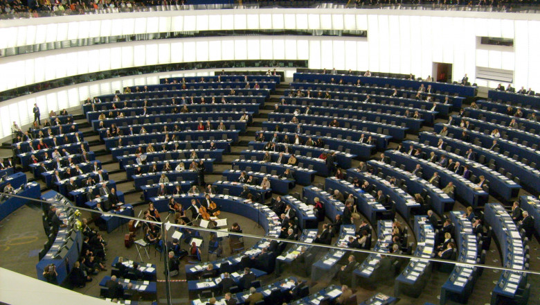 Hemicycle of European Parliament Strasbourg with chamber orchestra performing-cropped