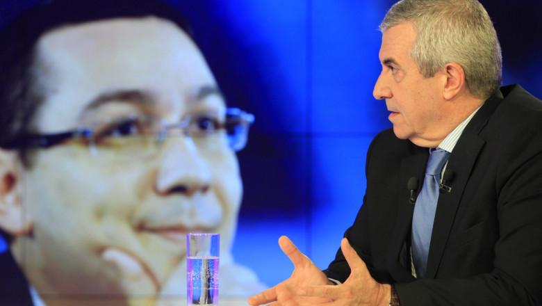 Calin Popescu Tariceanu la Digi24 fundal Victor Ponta