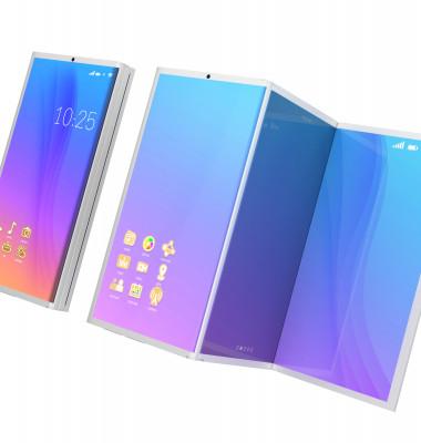telefon pliabil concept cu mov si roz si albastru pe ecran alb