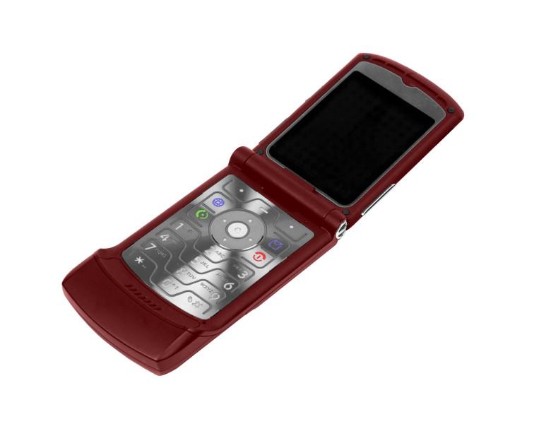 Motorola Razr rosu ssau grena pe un fundal alb