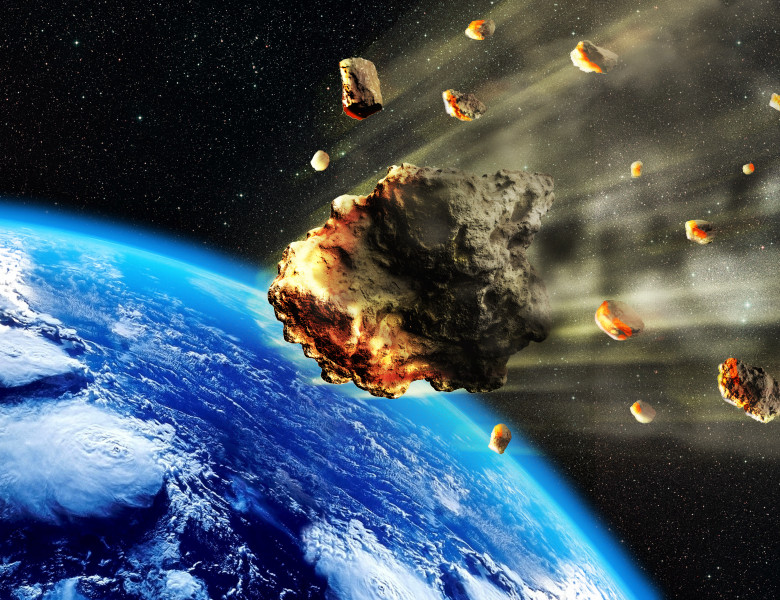 3d,Rendering,Of,A,Swarm,Of,Meteorites,Or,Asteroids,Entering