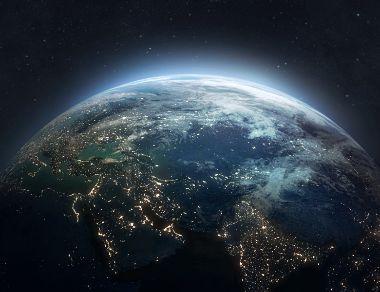 Earth,At,He,Night.,Abstract,Wallpaper.,City,Lights,On,Planet.