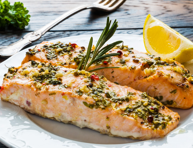 Salmon,Roasted,In,An,Oven,With,A,Butter,,Parsley,And