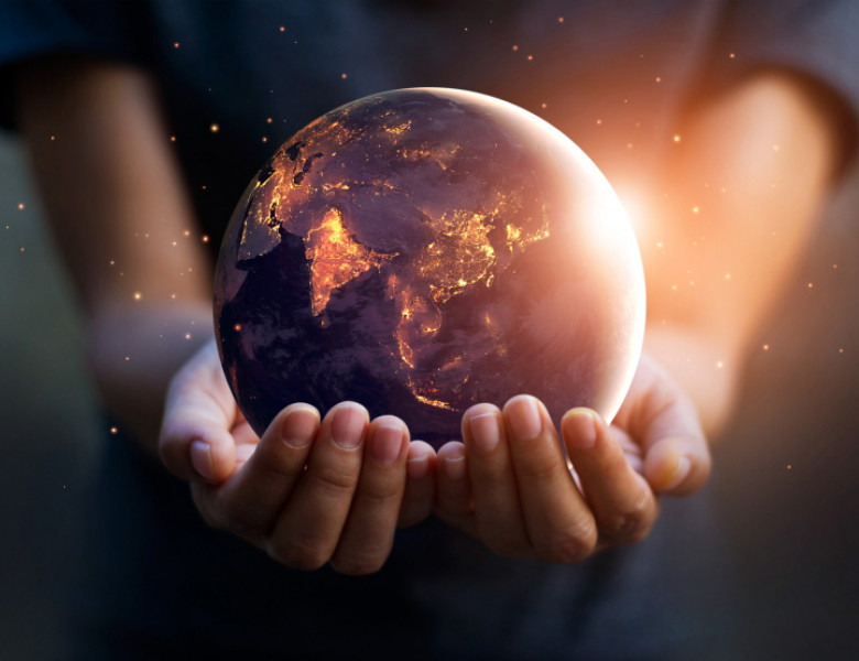 Earth,At,Night,Was,Holding,In,Human,Hands.,Earth,Day.