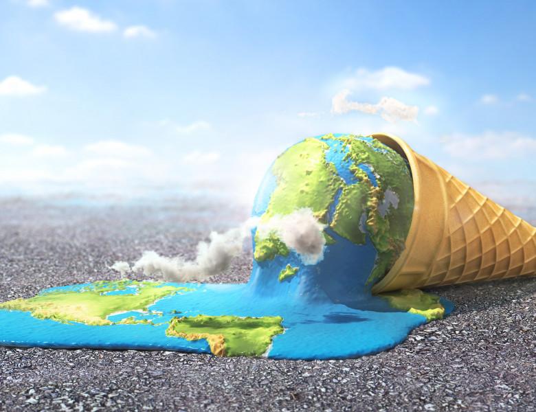Global,Warning.,Planet,As,Melting,Ice,Cream,Under,Hot,Sun.