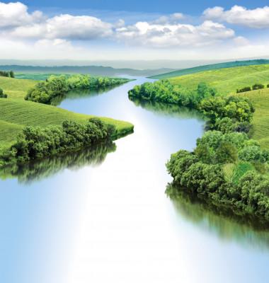 Zigzag,River,Flows,Between,Summer,Valleys.a